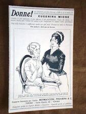 Pubblicità d'epoca per collezionisti del 1921 Eugenina Mione - Bernasconi Torino