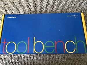 NEW Crate & Barrel Toy Tool Bench Wooden Kit Kids 3+ Complete Set Toolbox Play