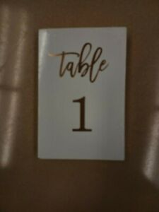 Tumbalina Wedding Table Numbers 1 - 40 Rose Gold Lettering 40 Cards 4 x 6 inch