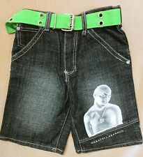 Makaveli Boy's Blue Jean Shorts Size 6 With Green Belt 22X8.5  TUPAC 2PAC