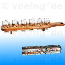Shooter-Gläser Schnapsgläser Schnapspinnchen Pinnchen im 6er Set mit Holzlatte