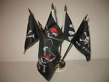 "Jolly Roger JR Pirate 5 Flag Set 5 Flags 4""x6"" Desk Set Table Stick Gold Base"