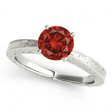 1 Carat Red Diamond Solitaire Ring Best Price 14k WG Valentineday Spl.Sale