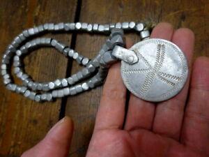 Vtg Engraved Aluminium Disk Pendant & Beads Necklace Borana Ethiopia