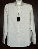 Bugatchi Men's Biege Floral Design Cotton Shirt Size US L Shaped Fit NEW