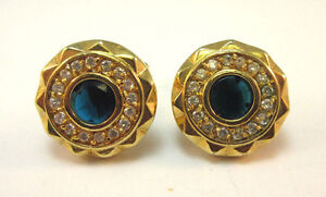 GOLD TONE CUFF LINKS CIRCLE ELEGANT BLUE & WHITE RHINESTONE *