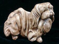 8-Inch Ceramic Shih Tzu Dog Brown Ceramic Figurine Vintage