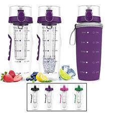 Large Fruit Infuser Water Bottle w Hydration Tracker Insulation Sleeve BPA Free