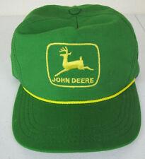 John Deere Vintage Hat Green Trucker Flat Bill Strapback Cap Yellow Ribbon