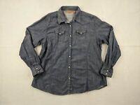 Wrangler Pearl Snap Denim Shirt Adult 2XL XXL Women Chambray Blue Western