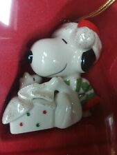 Lenox A Surprise For Snoopy Christmas ornament Unused with Woodstock Peanuts Mib
