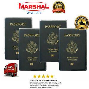 Set of 4 Heavy Duty Clear Vinyl Plastic Passport Cover Holder Travel Family Pack