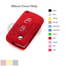 Silicone Cover Shell fit for PEUGEOT 308 408 207 107 Remote Key Case 2BTN 11C RD