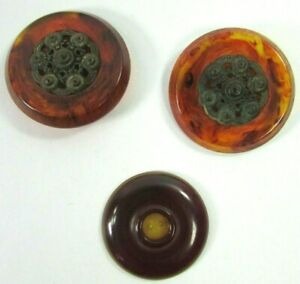 Lot 3 Large Round Bakelite Buttons: 2 Apple W Metal Flowers & 1 Apple Cherry