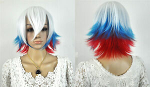 Hot Sell Fashion Short White Blue Red Straight Women Lady Hair Wig Wigs +Wig Cap