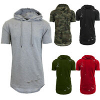 USA Stock Mens Short Sleeved Hooded T-Shirt Casual Sport Gym Sweater Tees Tops