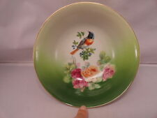 Antique Germany Bowl Scarce Robin and Roses Numbered Red Mark Bird Collector