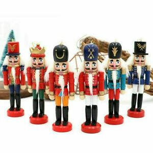 6Pcs Wooden Nutcracker Doll Soldier Christmas Tree Hanging Decor Xmas Table Toys