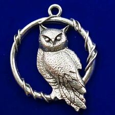 43x5mm Carved Tibetan Silver Owl Pendant Bead X45320