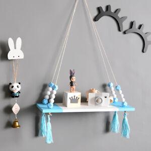 Wooden Beads Storage Shelf Wall Hanging Board Tassel Children Home Nursery Decor
