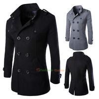 Men's Wool Coat Formal Dress Tops Double Breasted Peacoat Long Men Jacket Winter