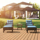 Patio Rattan Sofa Set 5 Pcs Wicker Garden Furniture Outdoor Sectional Couch Blue