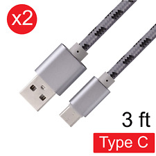2x USB Type-C Fast Charging Nylon Braided Data Sync Cable Cord for Android 3 FT
