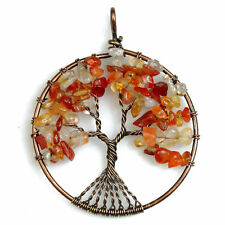 Natural Red Agate Chip Beads Tree of Life Copper Round Pendant Fit Necklace DIY