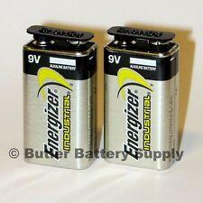 2 Energizer Industrial 9 Volt (9V) Alkaline Batteries (EN22, 6LR61, 1604)