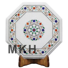 Marble Side Table Inlay Gems Stone Coffee Table Top Marquetry Vintage Gift STT90