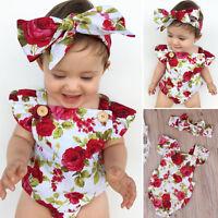 Flower Newborn Baby Girls Clothes Jumpsuit Romper Bodysuit+ Headband Outfits Set
