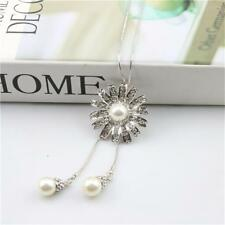 Crystal Daisy Pearl Tassel Pendant Long Chain Sweater Necklace for Women