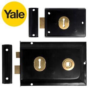 YALE RIM SASHLOCK/DEADLOCK Indoor Outdoor Shed Gate Door Black Brass Lock + Keys