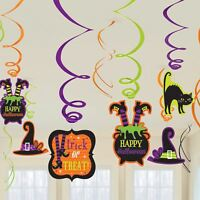 12 Halloween Hanging Swirls Value Party Pack Witches Pumpkin Ghost Decorations