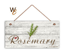 "Rosemary Sign, Rustic Style Garden Sign,  5"" x 10"" Wood Herb Kitchen Sign"