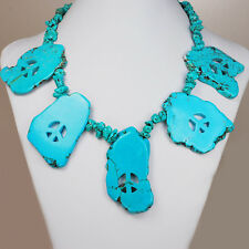 """Turquoise Peace Pendant Silver Toggle Necklace 18"""" w/Gift Box"""