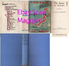 Leslie Charteris  THE SAINT IN MIAMI  1st w/ ORIGINAL dj 1941 THE SAINT Hodder