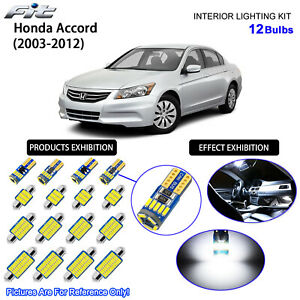 12 Bulbs LED Interior Dome Light Kit 6000K Cool White For 2003-2012 Honda Accord
