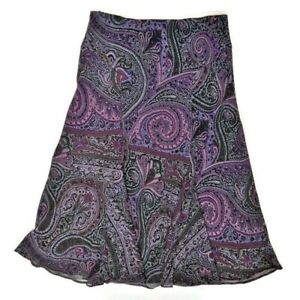 CHAPS Skirt Size Small Flared Paisley Print Lined Lined Pull-On Style Midi