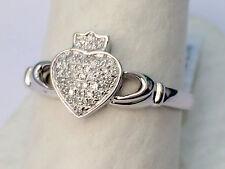 10k White Gold Pave Diamonds Claddagh Irish Ring Band Wedding