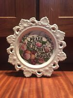 Currier & Ives Peace Be To This House Antique Wall Decor - Vintage Ceramic Plate