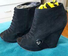 KENJI Black Suede Boots Wedge  Ankle Leather Size 9 Boho Peep Toe
