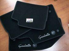 Tappeti in moquette nera con ricamo per Alfa Romeo Giulietta 4 pezzi ant e post