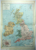 Original French Map of The British Isles by Drioux & Leroy Paris 1884, Antique