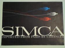 SIMCA orig 1958 USA Mkt Brochure - Oceane Convertible Plein Ciel Chatelaine etc