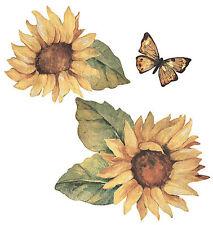 Sunflower Garden Sunflowers Butterflies 25 Wallies Stickers Walls Decals Borders