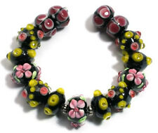 Lampwork Glass Beads Handmade Black Pink Yellow Flower Dot Jewelry Making Spacer