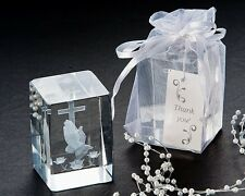 48 Blessed Prayer Cross Baptism Christening Crystal Favor Keepsake Gift