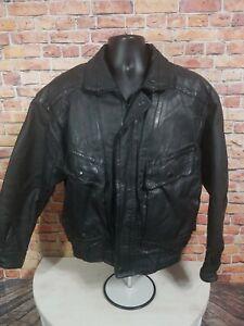 Vintage St Johns Bay Black Leather Bomber Jacket Coat Mens Size Small Full Zip