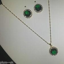 SET Green Emerald & Diamante Gold GF Plum UK Matching Round Necklace & Earrings